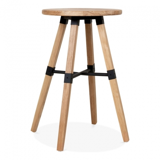 Cult Living Bastille Table Haute en Bois Ronde - Naturelle