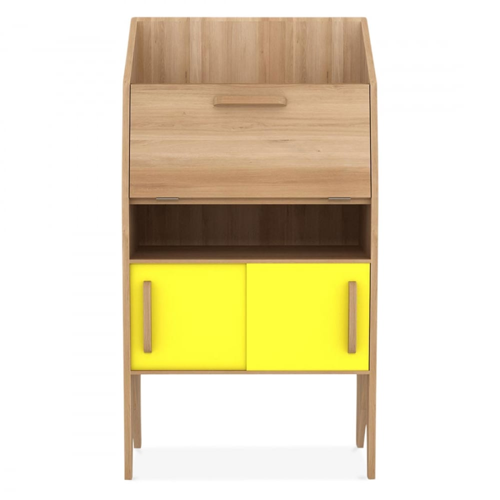 bureau origami d artisanat ethnicraft jaune avec 2 portes coulissantes et 2 tiroirs cult fr. Black Bedroom Furniture Sets. Home Design Ideas