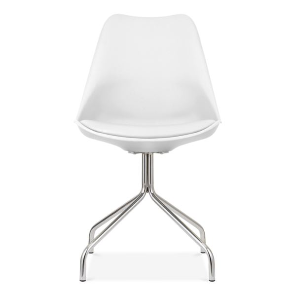 Chaise eames inspired blanche avec pieds en croix for Chaise blanche solde