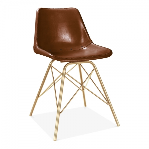 Dexter Industrial Leather Dining Chair Brown