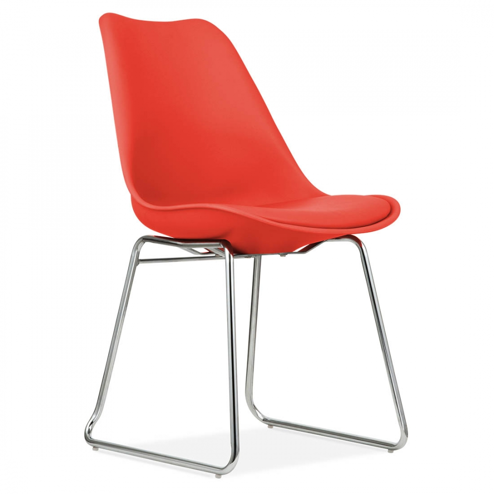 chaise design eames inspired rouge avec coussin rembourr cult uk. Black Bedroom Furniture Sets. Home Design Ideas