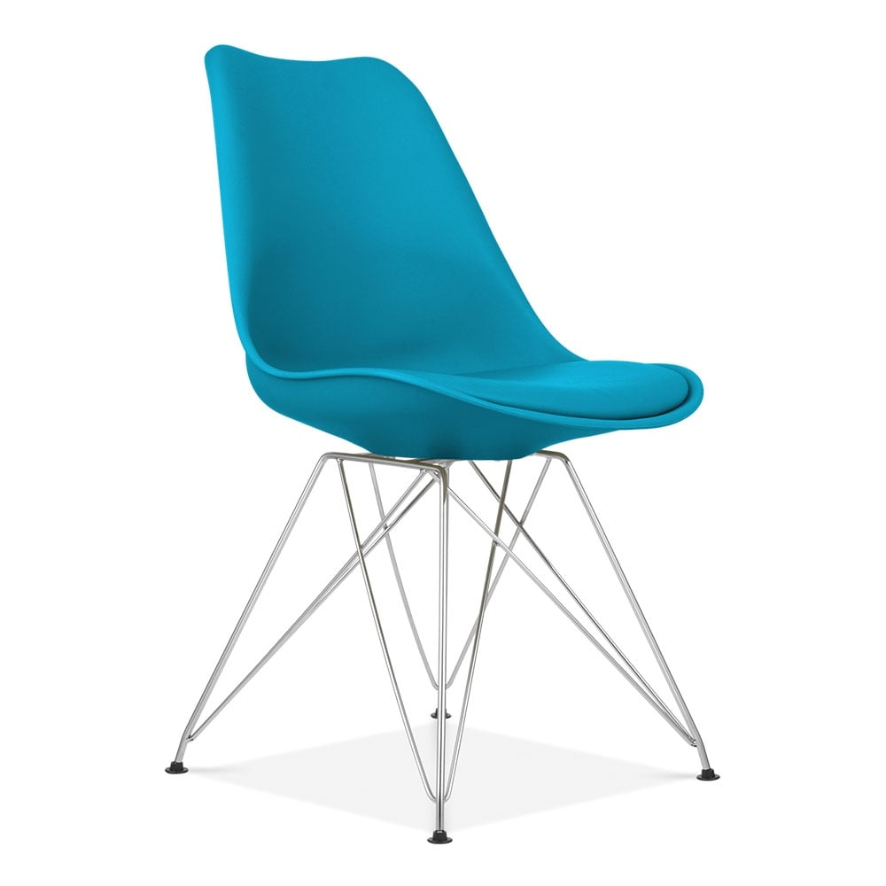 chaise de cuisine bleu marine de style eames avec pieds eiffel cult. Black Bedroom Furniture Sets. Home Design Ideas