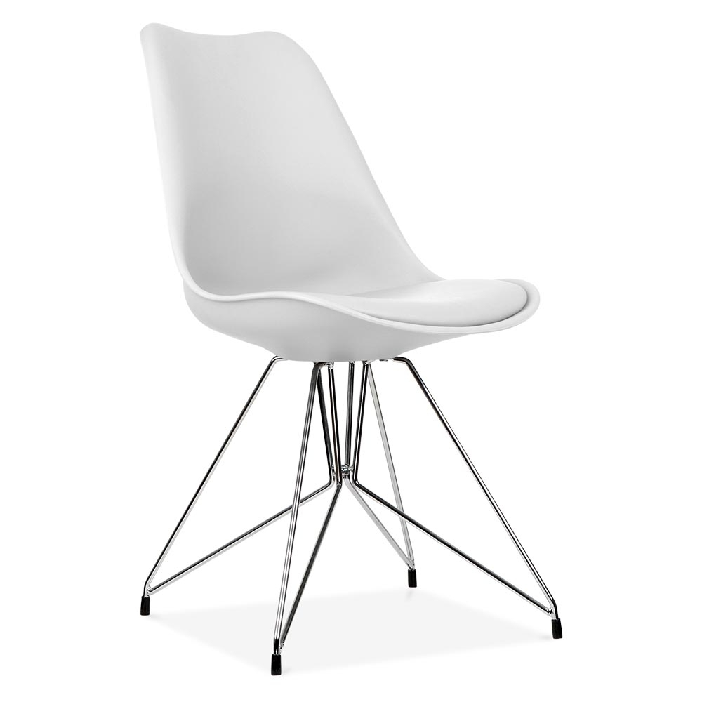 chaise eames inspired blanc avec pieds eiffel en mtal cult uk - Chaise Scandinave Pied Metal