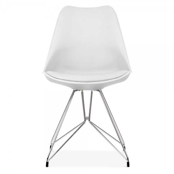 White Dining Chair With Geometric Metal Legs