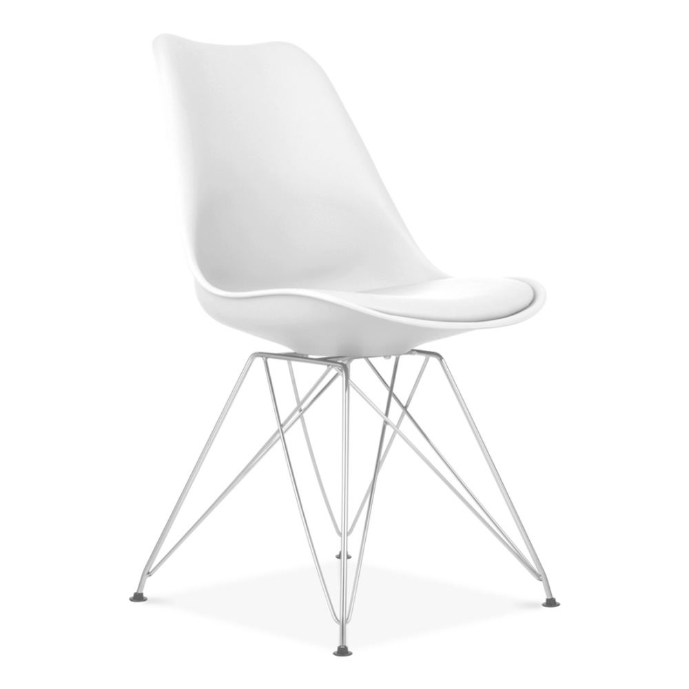 chaise eames inspired blanche avec pieds eiffel en m tal. Black Bedroom Furniture Sets. Home Design Ideas