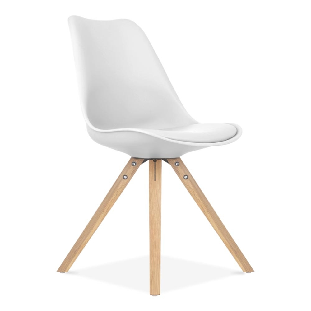 chaise design eames inspired blanche avec pieds en bois | cult uk - Chaise Blanche Pied En Bois