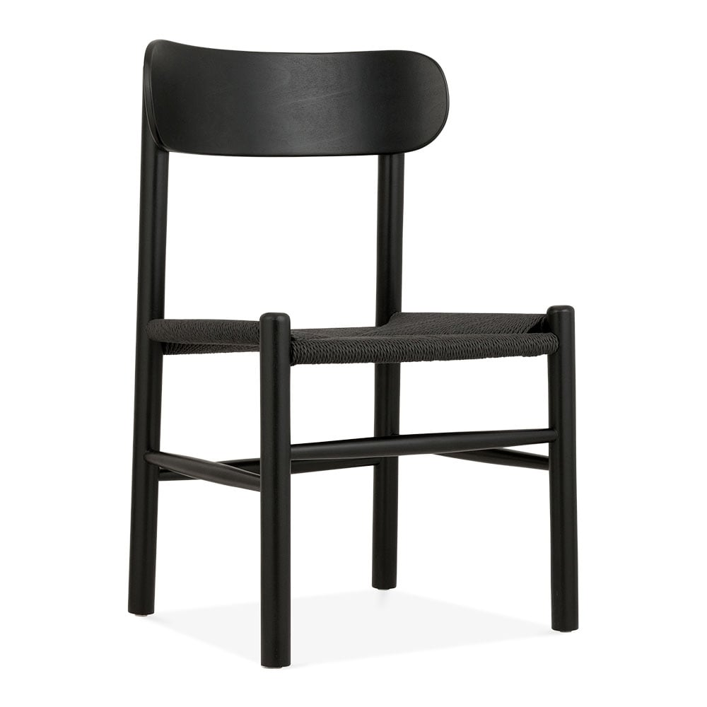 noir chaise manger en bois de h tre anders si ge en rotin noir cult fr. Black Bedroom Furniture Sets. Home Design Ideas