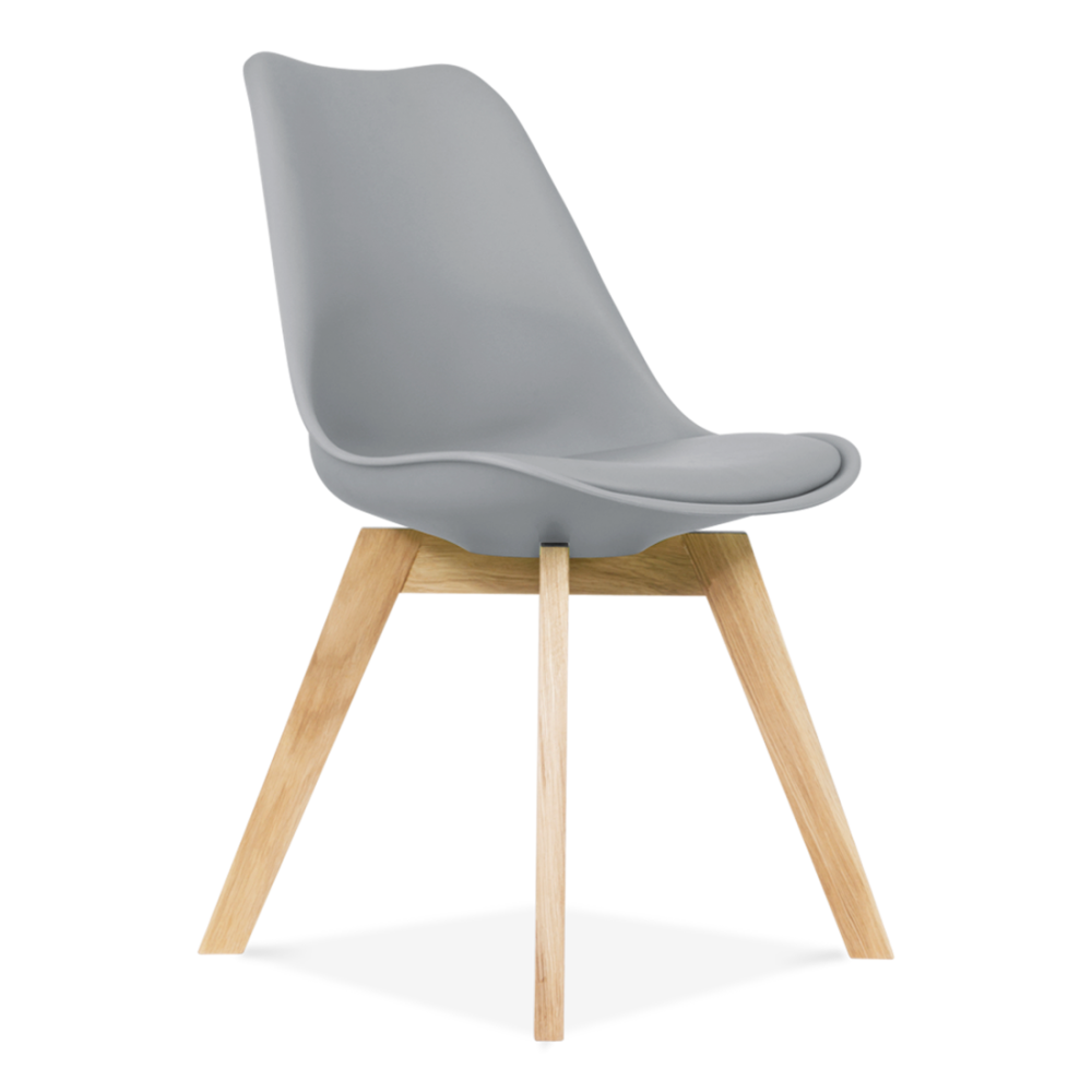Chaise eames inspired grise avec pieds crois s en ch ne for Chaise 3 pieds