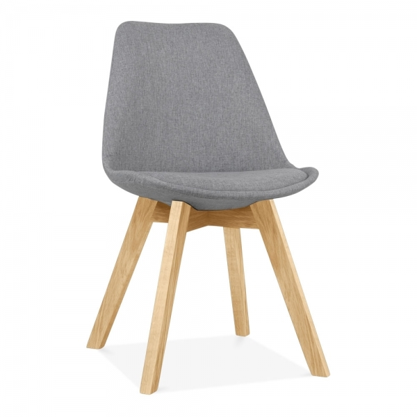 Upholstered Solid Oak Dining Chair In Cool Grey