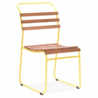 Chaise Empilable Bauhaus avec Assise à Lattes - Jaune