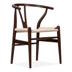 Chaise en Bois Wishbone, Assise Tissée Naturelle, Marron