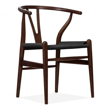 Chaise en Bois Wishbone, Assise Tissée Noir, Marron