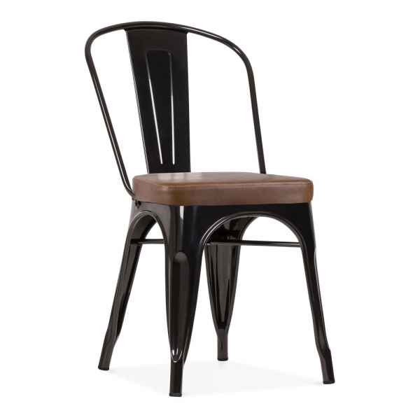 Tolix Style Metal Side Chair Faux Leather Cushion Black