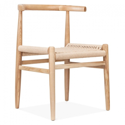 Danish Designs Chaise Nordique avec Assise en Corde Tissée - Naturelle