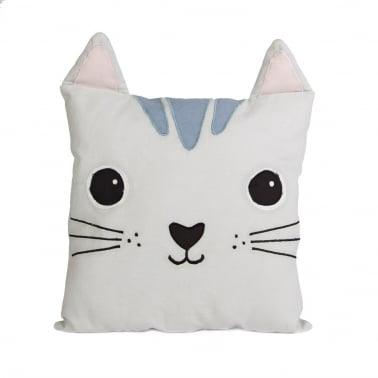 Coussin Chat Nori en Coton Kawaii Friends, Gris Clair
