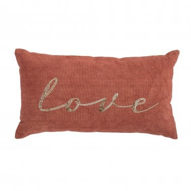 Coussin Paillettes Motif Love, Orange
