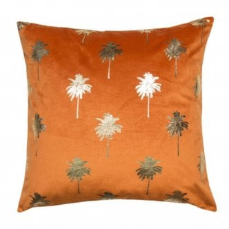 Coussin Palmier Velours, Orange