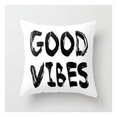 Coussin Scandinave Good Vibes – Blanc