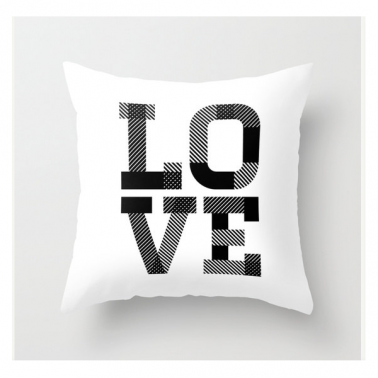 Coussin Scandinave Love – Blanc