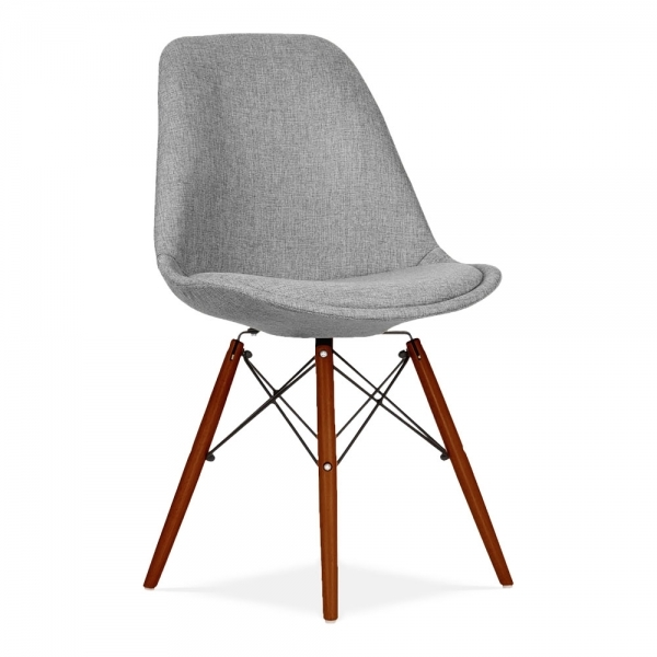 DSW Style Dining Chair Fabric Upholstered Cool Grey