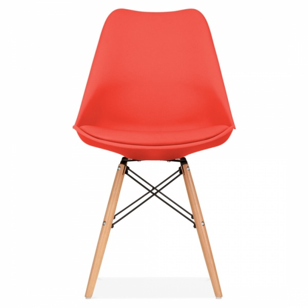 DSW Style Plastic Dining Chair Soft Pad Seat Red