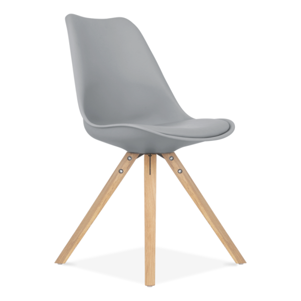 Chaise Eames Inspired Grise avec Pieds Pyramide en Bois | Cult UK