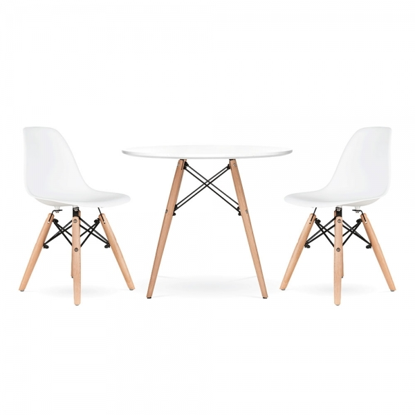 Iconic Designs Ensemble A Diner DSW Pour Enfants 1 Table 2 Chaises Blanc