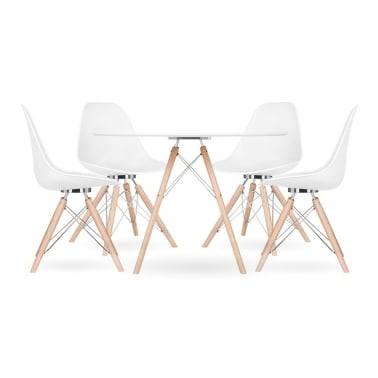 Ensemble à manger Moda CD3, 1 table ronde et 4 chaises, blanc 110cm