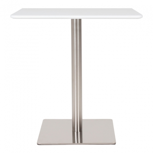 Cult Living Fairway Table carrée avec base en acier inoxydable - Blanc / Chrome