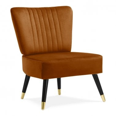 Fauteuil à Cocktail Ailé Abigail, Tapissé de Velours, Orange