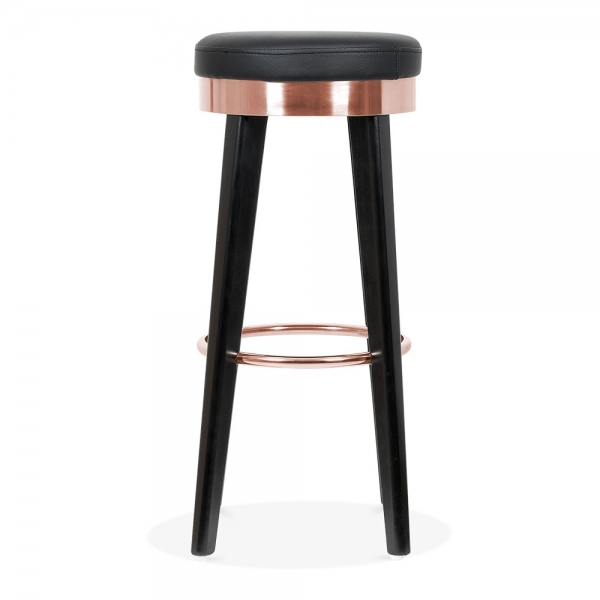 fusion tabouret de bar en bois avec anneau en m tal noir. Black Bedroom Furniture Sets. Home Design Ideas