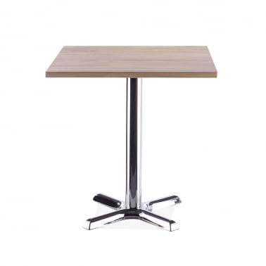 Galant Table Carrée de Café - Chrome / Finition Naturel 70cm