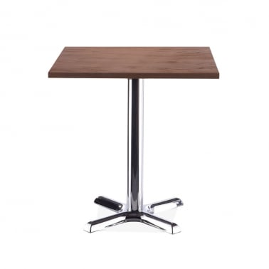 Galant Table Carrée de Café - Chrome / Finition Noyer 70cm
