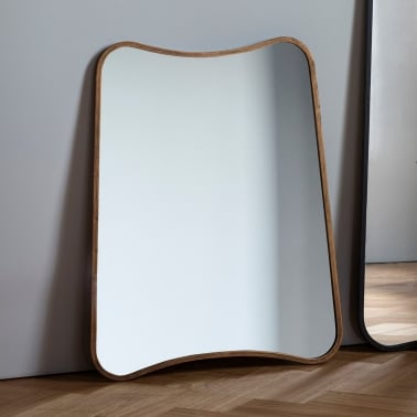 Inca Contemporary Rectangle Wall Mirror, Doré