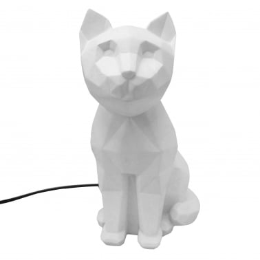 Lampe de Table Géométrique Chat LED, Blanc