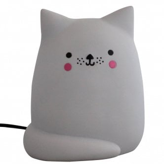 Lampe de Table LED Style Kawaii Chat, Gris Clair