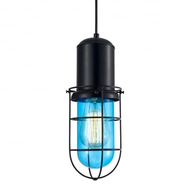 Lampe Suspension en Cage Portside - Bleu Vif