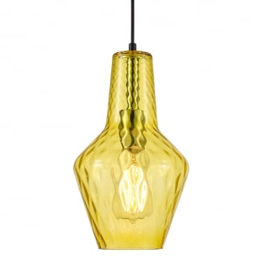 Lampe suspension en verre Bardot - Jaune