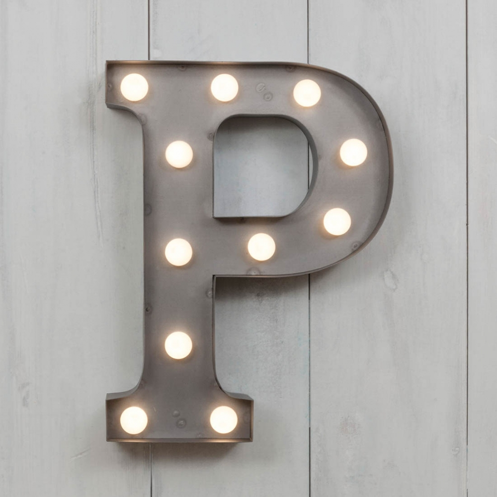 Mini lettre lumineuse p led m tal 28cm industrielle cult furniture - Lettres lumineuses led ...