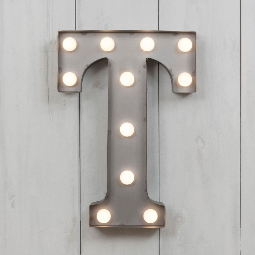 Mini lettre lumineuse t led m tal 28cm industrielle cult furniture - Lettres lumineuses led ...
