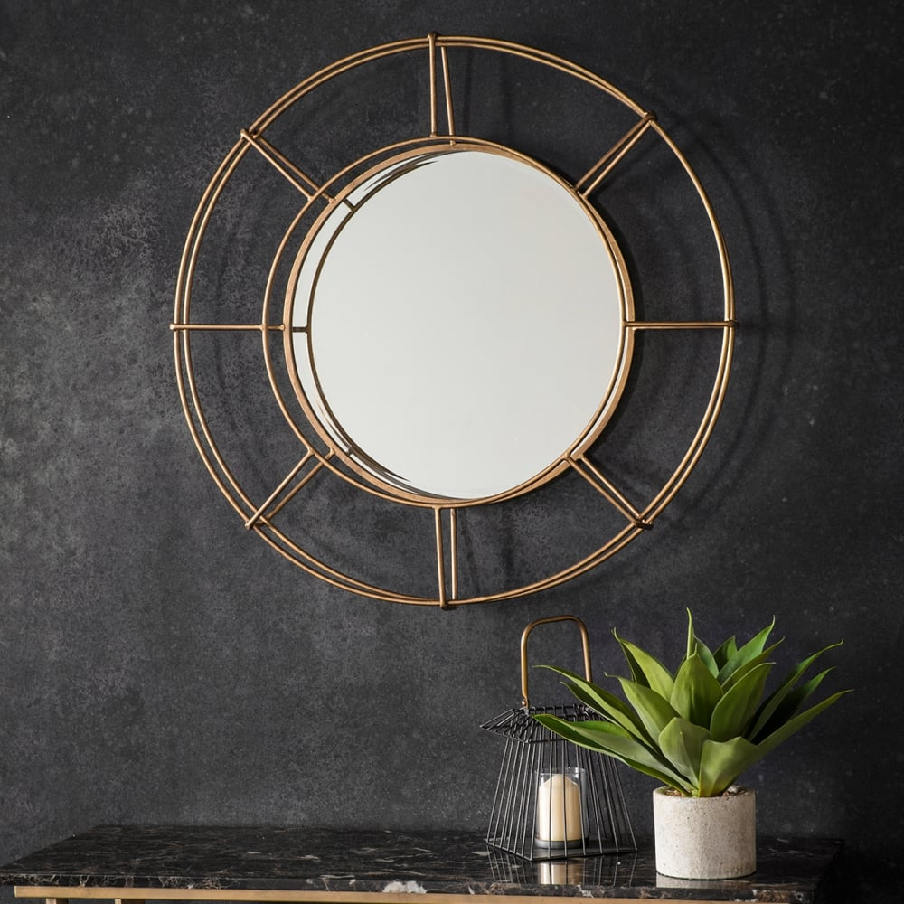 Miroir industriel rond en m tal portal dor cult furniture for Miroir industriel