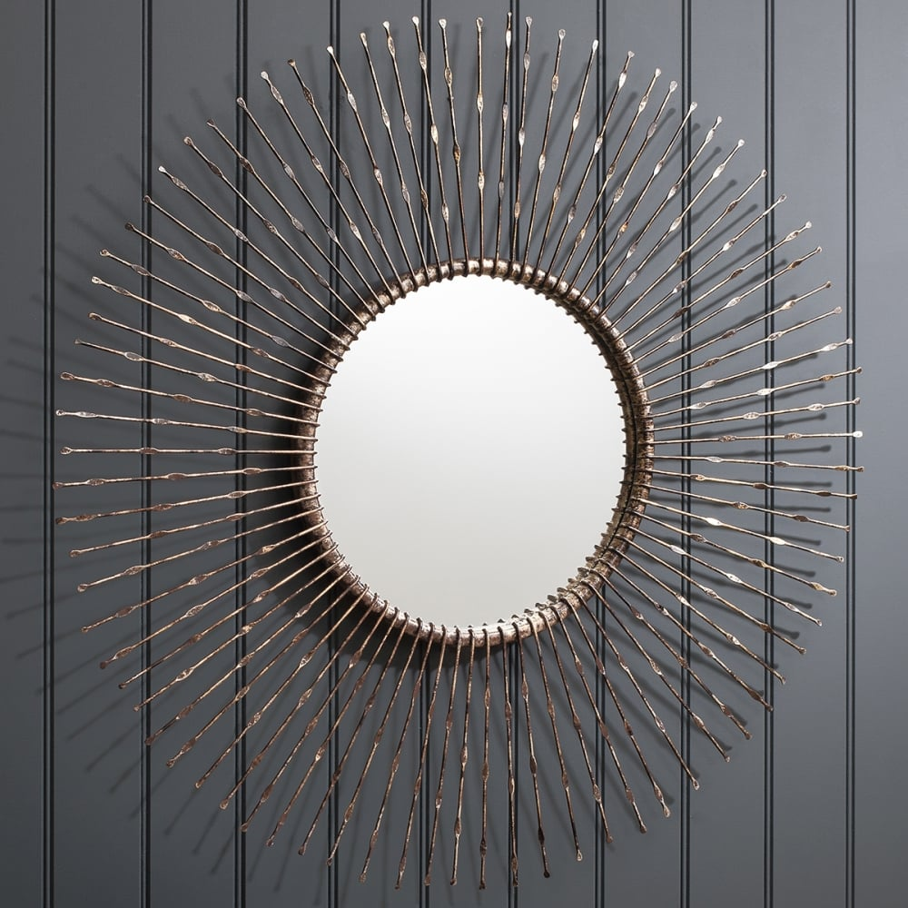 Miroir rond en m tal stratos bronze miroirs contemporains for Grand miroir rond design