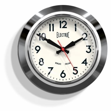 "Petite Horloge Murale ""Electric"" - Chrome"