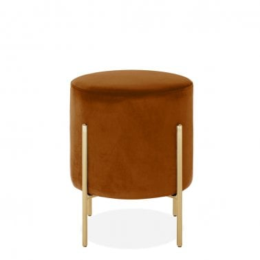 Baltimore Low Stool, Velvet Upholstered, Burnt Orange