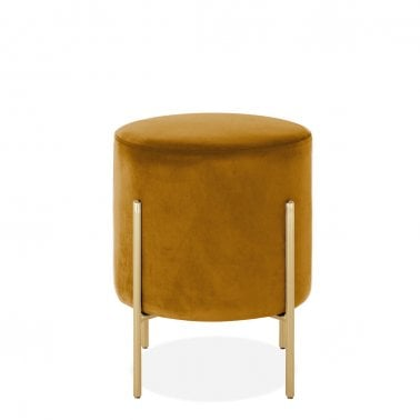 Baltimore Low Stool, Velvet Upholstered, Mustard - Clearance Sale