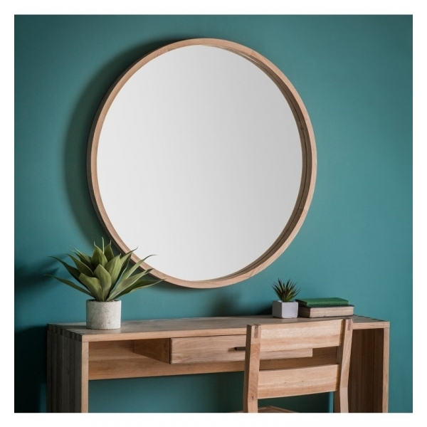 bois de ch ne sofia miroir mural rond contemporain miroir mural. Black Bedroom Furniture Sets. Home Design Ideas