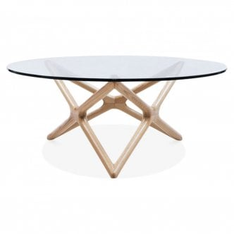 Star Glass Top Coffee Table - Naturel 100cm