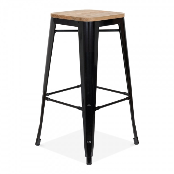 style tabouret tolix en noir avec l 39 option de si ge en bois cult fr. Black Bedroom Furniture Sets. Home Design Ideas