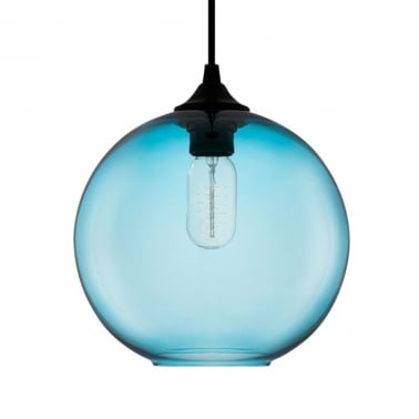 Suspension Industrielle Moderne Solitaire – Bleu Brillant