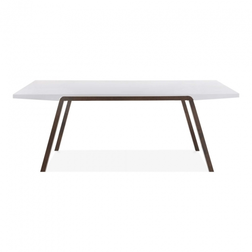 Cult Living Table à Manger Rectangulaire Renzo en Bois, Finition Blanche et Noyer 180cm